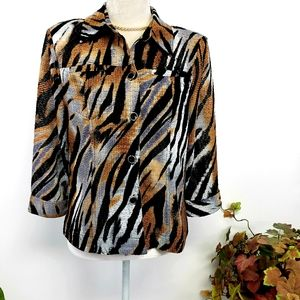 Southern Lady Animal Print Semi Sheer Jacket Shirt
